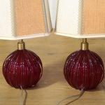 Image of Vintage Venetian Blown Glass Globe Lamps - Pair