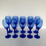 Image of Cobalt Blue Stemmed Wine Glasses - Set of 10