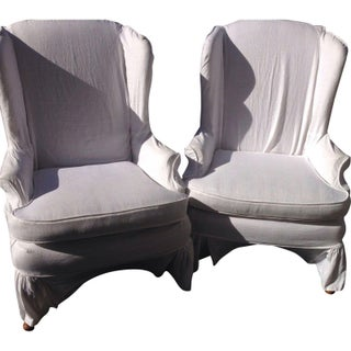 Slipcovered Wingback Chairs - Pair