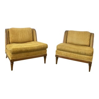 Drexel Golden Yellow Barrel Chairs - A Pair