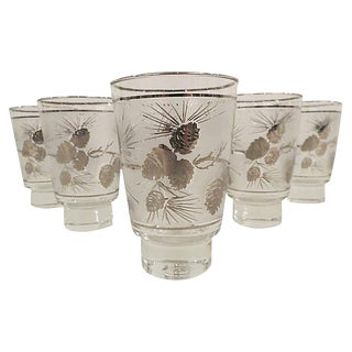 Mid-Century Sterling Silver Overlay Frosted Pinecone Glasses - Set of 6