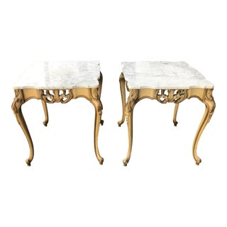 Italian Marble Top French Style Side Tables - A Pair
