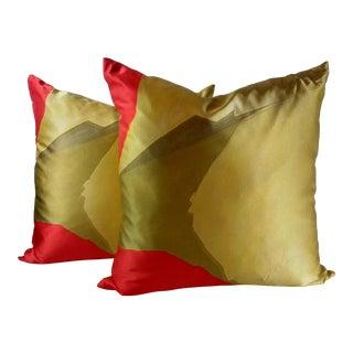 Modern Silk & Satin Abstract Art Accent Pillows - A Pair
