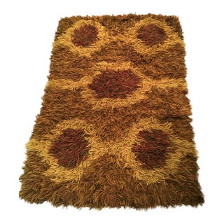 "Mid-Century Orange Circle Design Handwoven Shag Rug - 3'3"" x 5'1"""