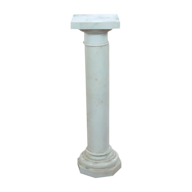 19th C. Italian Carrara Marble Carved Pillar Stand - Image 1 of 10