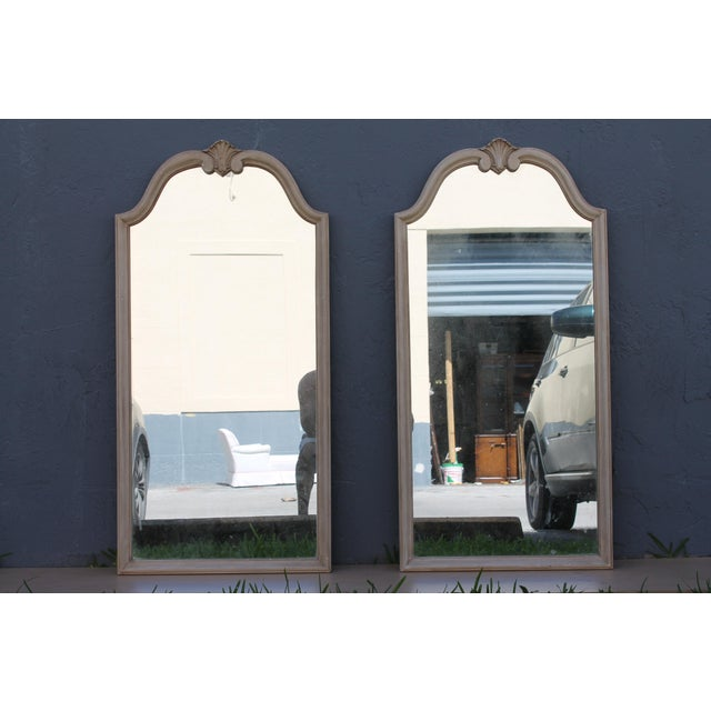 Traditional Off White Carved Wall Mirrors - A Pair - Image 3 of 9