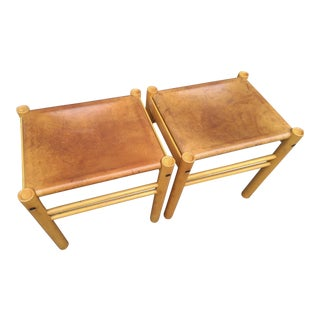 Ibisco Italian Leather & Birch Stools - A Pair