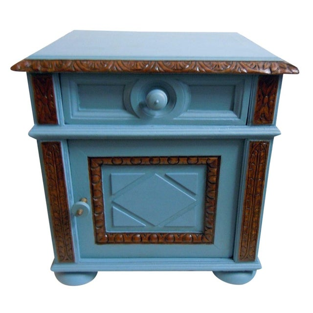 Blue Painted Mid-Century Nightstand - Image 1 of 9