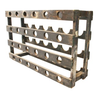 Vintage Rustic Slate Gray Wood Wine Rack
