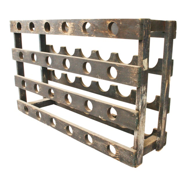 Vintage Rustic Slate Gray Wood Wine Rack Chairish