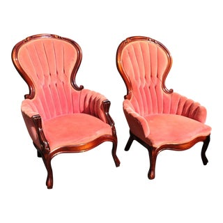 Victorian Pink His & Hers Mahogany Tufted Parlor Chairs-A Pair