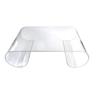 Karl Springer Style Mid-Century Scroll Lucite Coffee Table