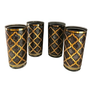 Mid-Century Modern Bronze & Brown Tumblers - Set of 4