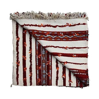 Moroccan Orange & Cream Berber Blanket