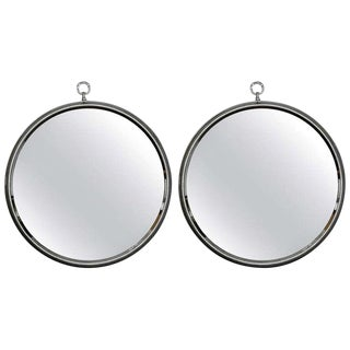 Mid-Century Round Silver Metal Wall Mirrors - A Pair