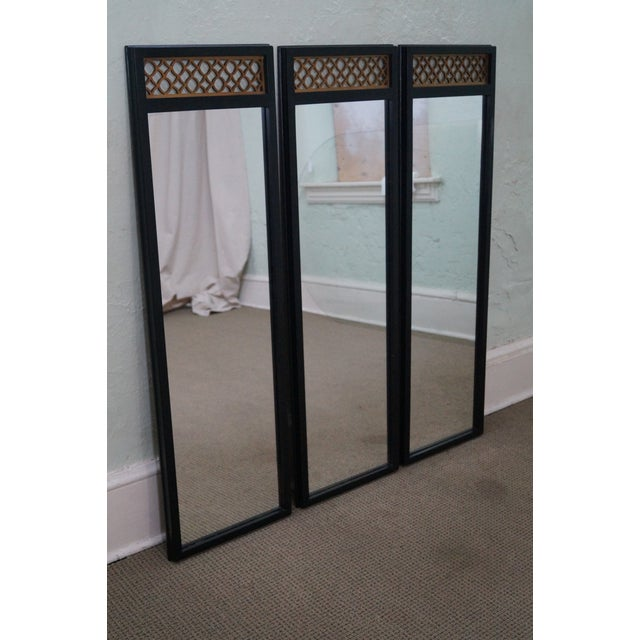 Image of Hollywood Regency Black & Gold Wall Mirrors - S/3