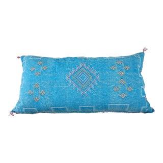 Sea Blue Moroccan Sabra Cactus Lumbar Cushion