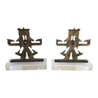 Antique Brass Mechanical Objects on Lucite Stand, Bookends