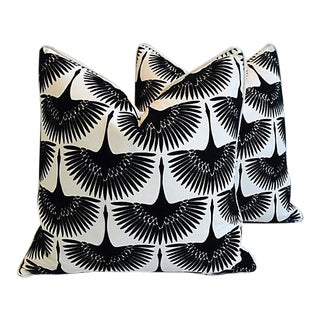 "24"" Custom Tailored Abstract Birds in Flight Velvet Feather/Down Pillows - Pair"