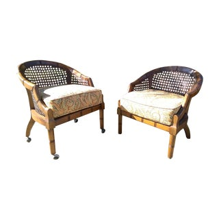 Vintage Cane Back Barrel Chairs - A Pair
