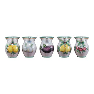 Set of Five Italian Hand Painted Pitchers by Solimene, Vietri