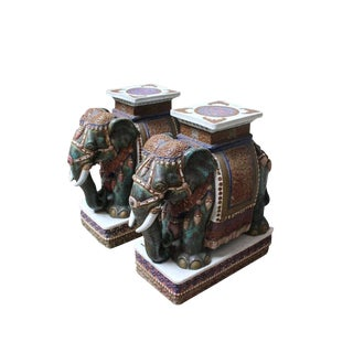 Pair of Chinese Porcelain Elephant Garden Stools