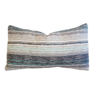 French Gray & Teal Woven Textile Body Pillow