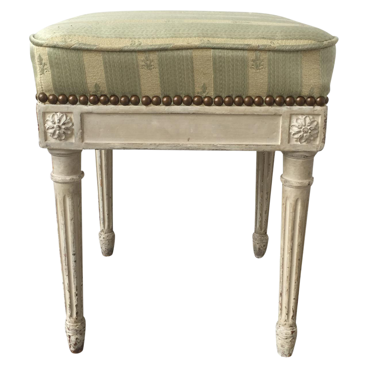 louis xvi style white painted square bench