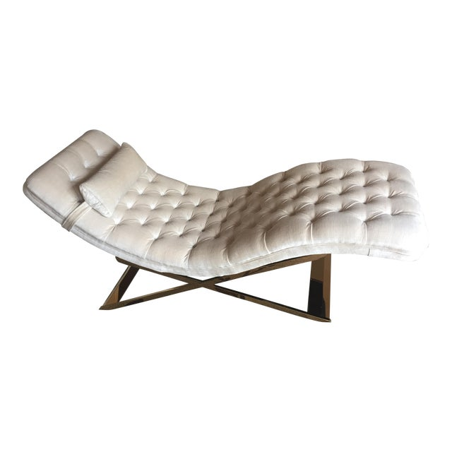 Gold white chaise lounge chairish for Black and gold chaise lounge