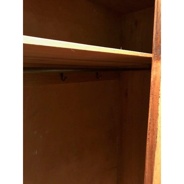 English Oak Wardrobe With Walnut Accents & Mirror - Image 8 of 11