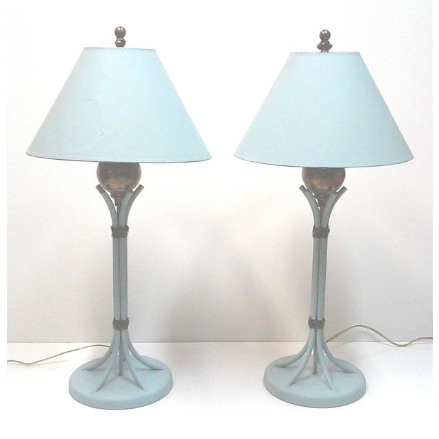 Blue Iron and Brass Table Lamps - A Pair - Image 2 of 7