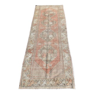 Antique Distressed Turkish Runner Rug - 3′1″ × 9′5″