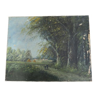 Antique 17 x 21 Forest Tree Field Landscape Oil Painting Art