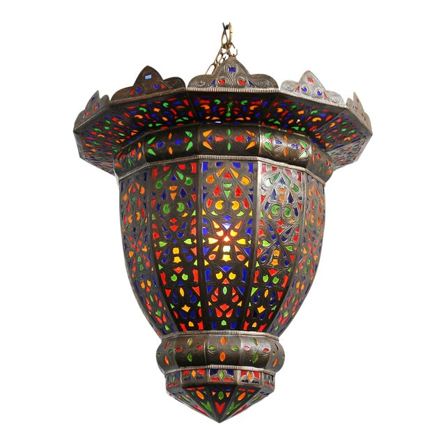Moroccan Brass & Colored Glass Lantern - Image 1 of 5
