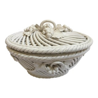 Vintage Italian Ceramic Lidded Bowl, 2-Pc.