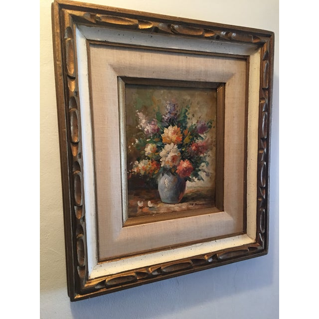 Floral Oil Painting of Dahlias & Other Flowers in a Blue Vase - Image 3 of 7