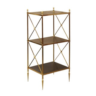 Italian Maison Jansen Style Three-Tiered Brass and Leather Stand, circa 1970
