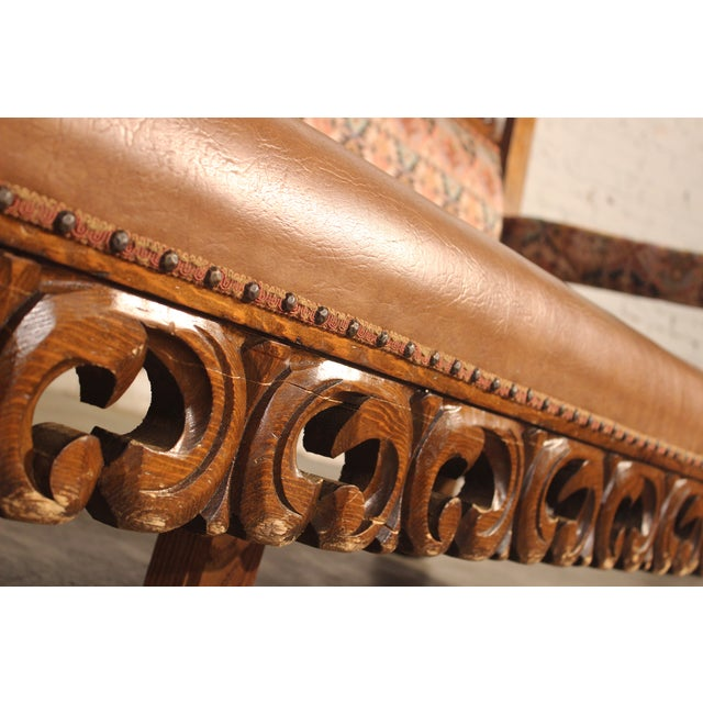Spanish Carved Pine Bench - Image 7 of 10