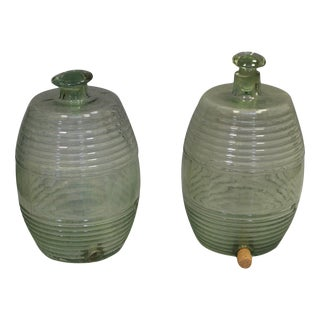 French Ribbed Glass Barrel Jars - A Pair