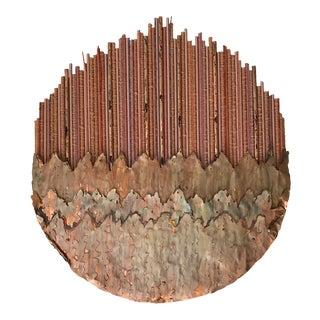 """""""Moon Clouds"""" Copper & Natural Fiber Wall Sculpture"""