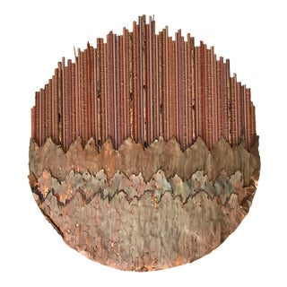 """Moon Clouds"" Copper & Natural Fiber Wall Sculpture"