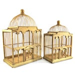Image of Victorian Cathedral Wood Birdcages - A Pair