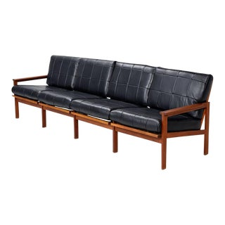 Teak and Leather Illum Wikkelso for N. Eilersen Sofa