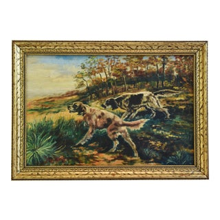 Vintage Hunting Dogs Oil Painting