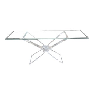 Lucite Butterfly Glass Top Console