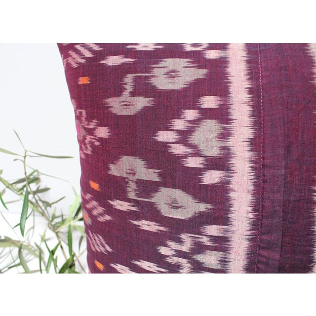 Karma Purple Balinese Handwoven Ikat Pillow - Image 5 of 5