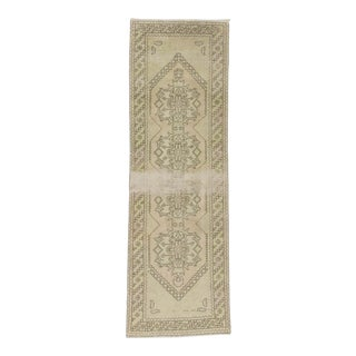 Handknotted Vintage Distressed Decorative Washed Out Turkish Runner Rug - 3′2″ × 9′11″