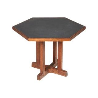 1960s Slate & Walnut Six Sided Table