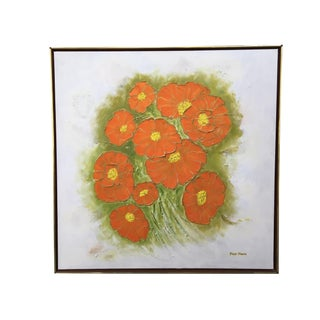 Large Square Framed Flower Oil Painting by Faye Moore