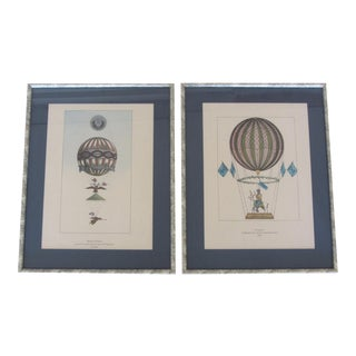 Vintage Ballooning Lithographs - Pair